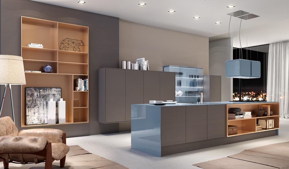 Cozinha Laccato Legno Colore Griggio C4 e CP Laccato High Gl